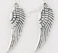 Wholesale Wing Pendant Bead - Angel Wing Charm Beads 200pcs lot 12.4x25mm Antique Silver bronze Pendants Fashion Jewelry DIY L084