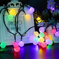 neueste weihnachtsbeleuchtung großhandel-Neueste LED Kristallkugel Solarbetriebene Licht Halloween Weihnachtsschmuck 30 Lichter Home Outdoor Garten Terrasse Party Supplies HH7-185
