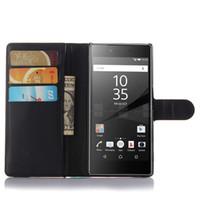 sony z3 case cover card großhandel-Fall für Sony xperia M2 Z3 Z4 M4 Z5 kompakte Luxus Flip Stand Wallet PU Ledertasche Telefon Taschen mit Kartensteckplätzen