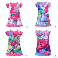 Wholesale Cartoon Beach Shorts - Girls Summer Dress Moana Trolls Baby Clothes Cartoon Kids Clothing Short Sleeve Polyester Nightdress Kids Summer Clothing Baby Clothes