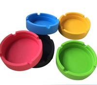 ingrosso portacenere in gomma-Posacenere in tinta unita, 6 colori, anticalcare, personalizzato, Posacenere in silicone tondo infrangibile per sigari tascabile morbido ecologico