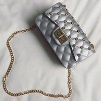 Wholesale Luxury Bag Summer - designer flap bag luxury Diamond gift party bags women summer candy color boy jelly bag mini chain crossbody shoulder bags girls