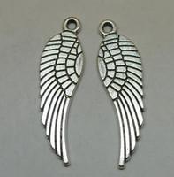 alas de angel tibetano al por mayor-Ala de ángel de plata para encantos de joyería Colgantes Al por mayor 30x10mm Collar de decoración de moda para hombres Regalo de Navidad tibetano