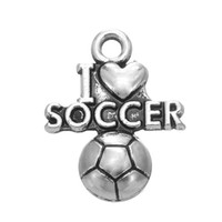 Wholesale Tibetan Silver Love Word Charms - New Fashion Tibetan Silver Plated Word I Love Soccer Charms Pendants for DIY Jewelry Making