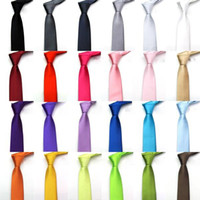 Wholesale Green Pink Tie - Mens Necktie Satin Tie Stripe Plain Solid Color Tie Neck Factory's 2017 Super Cheap Wedding Accessory FG