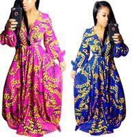 Wholesale Large Maxi Dress - Autumn Fashion Vintage Maxi Dresses Robe Long Sleeve Dashiki Gold Printed Large Swing Dress Women Elegant Party Dresses