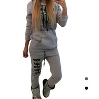 Wholesale Rugby Flannel - S5Q Women's Cotton Autumn Winter Casual Printing Two-piece Suit Hoodies Tracksuit AAAGNK