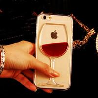 Wholesale Purple Iphone 4s Glass - LOVECOM For iPhone 6 6S Plus 4 4S 5C 5 5S SE 7 7 Plus Phone Case Liquid Quicksand Red Wine Glass transparent hard back Cover