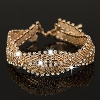 Wholesale Ladies White Gold Bangle - The girl a gift Wedding Bracelets & Bangles New Arrival full star super shiny rhinestone crystal silver ladies link chains