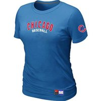 Crew Neck cashmere rounding - MLB Tactical T Shirts Baseball Chicago Cubs Women Tops T shirts Cotton Short Sleeve Round Neck Many Colors In S XL