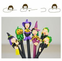 Wholesale Gift Student Prize - 16cm long Halloween Ruanmao ball pearl ghost festival decoration student prize cartoon pen soft pottery small gift DHL or SF Express