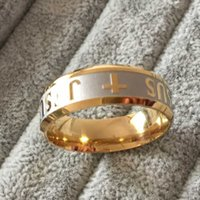 Wholesale Titanium Ion Band - High quality large men women gold sliver Ion plating genuine pure 8mm titanium mens fashion Juses cross prayer rings