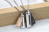 Wholesale Square Tins - 2017 direct sales square stripes fashion jewelry diamond pendant pure steel chain with titanium steel couple necklace GX464