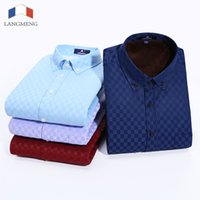 Wholesale Asian Dress Xl - Wholesale- Langmeng 2016 Men Thermal Brand Men dress Shirts Long Sleeve Asian Size Casual Thicken Shirt camisa masculina chemise homme