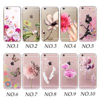 Wholesale Simple Designs Phone Cases - Wholesalercase Simple Flowers and Furits Fashion Design Clear Soft TPU Phone Case Cover For Iphone 4 5 5C 6 6PLUS 7 7PLUS