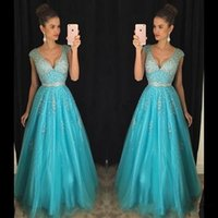 Wholesale ice blue party dresses resale online - 2017 New Sexy Ice Blue Prom Dresses V Neck Cap Sleeves Bling Crystal Beaded Tulle Long Backless Formal Evening Party Gowns Pageant Dresses
