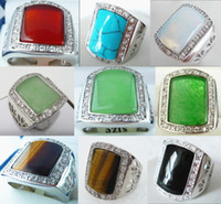 Wholesale Turquoise Stone White Gold Ring - Wholesale cheap 18 KGP red green white blue black jade opal turquoise tiger eye stone agate ring