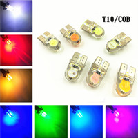 Wholesale Yellow Xenon - 10 Pcs T10 2SMD Silicone Lamp Bead LED Bulb Xenon Automobiles T10 COB 12V Parking Lamp Car Clearance Light DRL Warning Light