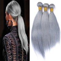 cheveux gris malaisiens vierges achat en gros de-8A Malaisien Gris Vierge Cheveux Humains Tisse 3Pcs / Lot Pure Couleur Gris Droite Extensions de Cheveux Humains 300G / Lot DHL Livraison Gratuite