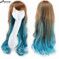 Wholesale Ladies Kanekalon Wigs - Harajuku Long Wavy Ombre Perruque Ladies Cheap Synthetic Hair Wig Rainbow Color Kanekalon Fibre Anime Cosplay Pelucas Drag Queen Cosplay wom