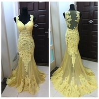 Gelbgold Billiges Partykleid Kaufen -Neue echte Fotos Meerjungfrau Gelbe prom Kleid Spitze Appliques Perlen Sequined Lace Appliques Spezielle Damen Party Kleider Slim Dubai African Billig