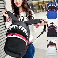 grand sac à bandoulière bleu achat en gros de-Gros-Big Shark Sac à dos en nylon blanc Sacs à dos noirs et bleus Mochilas sacs à bandoulière sacs à dos de mode