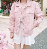 Wholesale Denim Over - Wholesale- Punk Style White Pink Loose Basic Denim Jackets Women Over Size Turn Down Collar Autumn Jeans Jacket Coat Boyfriend Jacket Coat