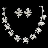 Wholesale Bridal Pearl Necklace - New Arrival Fashion Luxury Wedding Jewelry Sets Leaf Crystal Rhinestone Imitation Pearl Bridal Necklaces & Earrings for Women