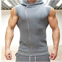 Wholesale Hooded Singlets - 2017 New Men Hoodie Brand Sweatshirts Fitness Workout Sleeveless Tees Shirt Cotton Vest Singlets Hooded Undershirt