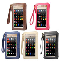 Hot Leather Case Touch Screen + Small Shoulder Crossbody Pouch + Wallet Bag para Sony Samsung LG para Huawei iPhone Cell Phones Bag