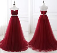 Wholesale Evening Gowns Sweet Heart - Strapless Crystal Lace-up Tulle Ruffle Sweep Train A-Line Sleeveless 2017 Sweet Heart Simple Evening Dresses Cheap Evening Gowns