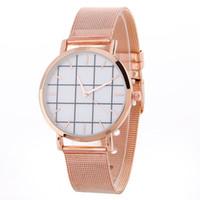Wholesale Dresses Coupons - Fashion unisex mens women alloy Mesh belt metal simple design watch 2017 ladies lovers coupon dress party quartz grid watches