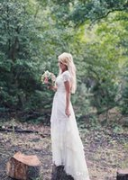 Wholesale Cheap High Quality Skirts - Modest 2017 Plus Size Country Wedding Dresses Cheap Tiers Skirts Short Sleeves Bohemian Bridal Gowns High Quality Summer Wedding Dress