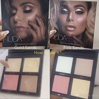Wholesale Eyeshadow Palette 3d - 2017 Hot High Quality cosmetic Kylie Huda beauty makeup 3D Eyeshadow highlighter palette 2 colors gold pink sands editio FREE SHIPPING