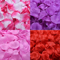 Wholesale Bridal Decor Petals - 5000pcs Silk Rose Petals Artificial Flower Wedding Party Vase Decor Bridal Shower Favor Centerpieces Confetti Assorted Colour