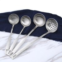 Wholesale Stainless Steel Colander Handle - Wholesale- 2Pcs Stainless Steel Cookware Frosting Soup Ladle & Colander Spoon Set Restaurant Kitchen Tool long handle slotted Wall Hanging