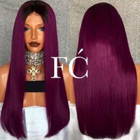 Wholesale Two Tone Peruvian Wig - Diosa Silky Straight Ombre Lace Front Human Hair Wigs For Women 1BTPurple Glueless Full Lace Human Hair Wigs Two Tone Lace Wigs