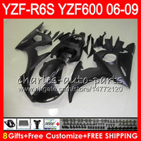 mattschwarze r6 verkleidungen großhandel-8Geschenke 23Color Body Für YAMAHA YZF600 YZFR6S 06 07 08 09 57NO10 Mattschwarz YZF R6S YZF 600 YZF-R6S YZF R6S 2006 2007 2008 2009 Verkleidung