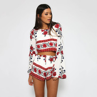 Wholesale New Arrival Europe and The United States Printed Style Leisure Suit Fashion Sexy Backless Long Sleeve Beach Hot Pant Sets