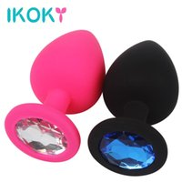 Wholesale sex rhinestone - IKOKY Rhinestone Butt Plug Prostate Massager Erotic Hot Sex Toys for Men Woman Adult Products Anal Plug Silicone Anal Tube S M L q170718