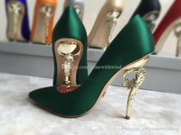 Wholesale Green Prom Heels - burgundy silver gold champagne grey blue green satin bridal wedding shoes with baroque heel pump evening party prom shoes