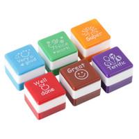 Wholesale Cute Teacher Stamps - Wholesale- 2016 Cute Cartoon Kids Stamp Set Motivation Sticker School Scrapbooking Stamp DIY Teachers Self Inking Praise Reward Stamps