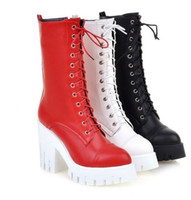 Wholesale Halloween Muffin - Wholesale New Arrival Hot Sale Specials Super Fashion Influx Warm Sexy Martin Leather Lace Up Roman Cylinder Bottom Muffin Boots EU34-39