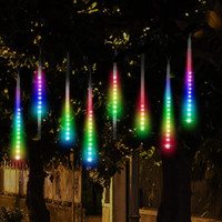 Wholesale Xmas Icicles Lights - LED Meteor Shower Rain Lights,Drop Icicle Snow Falling Raindrop 30cm 8 Tubes Waterproof Cascading lights for Wedding Xmas Home Decor