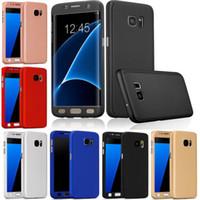 ingrosso scatola al minuto di caso di iphone6-Per Samsung s7edge Hybrid 360 ° Custodia a prova di urti rigida Pelle con vetro temperato per iPhone6 5s samsung s6 s7 bordo con scatola al minuto