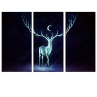 Digital printing painting from pictures - Deer From the Darkness Photo Art Print Animal Picture Canvas Printing Room Decoration quot x12 quot x3Pcs