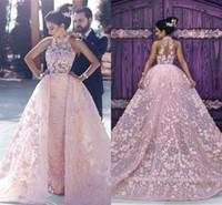Wholesale Cut Up Prom Dresses - New Elegant 3D Appliqus Lace Crew Neck Evening Dresses 2017 Pink Sleeveless Cut Out Back Mermaid Prom Dresses Arabic