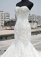 Wholesale Sweetheart Mermaid Rhinestone Wedding Dresses - Luxury 2017 Crystal Mermaid Wedding Dresses With Sweetheart Neck Zipper Back Rhinestones Wedding Gowns Cheap Bridal Dresses Custom