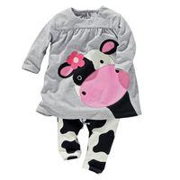 chándales stock al por mayor-Al por mayor-venta al por menor de las niñas de otoño ropa de bebé Little Cow modelado ropa de algodón de manga larga T-shirt + Pants traje Chándal en stock
