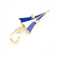 Wholesale Umbrella Brooch Pin - Fashion Bow White Blue Enamel Umbrella Brooch Decorative Garment Accessories Brooch Pin Jewelry For Gift Lot 10 Pcs